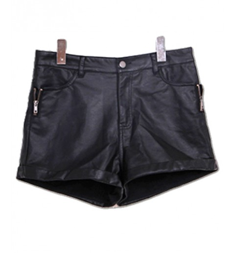 Cuffed Leatherette Shorts