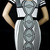 Deja Boutique. Shelly black white bandage dress