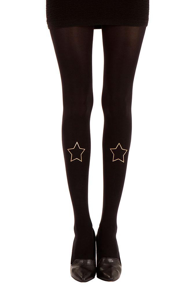 City star print tattoo tights black & gold