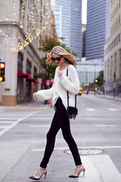 fashionjackson,blogger,sweater,jeans,shoes,sunglasses,bag,jewels,make-up,white sweater,shoulder bag,skinny jeans,high heel pumps,valentino rockstud,winter outfits