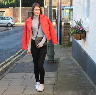 peexo blogger perfecto red jacket turtleneck