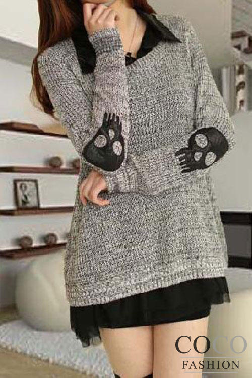Grey Long Line Asian Fashion Sweater With Skull Patches On Elbows