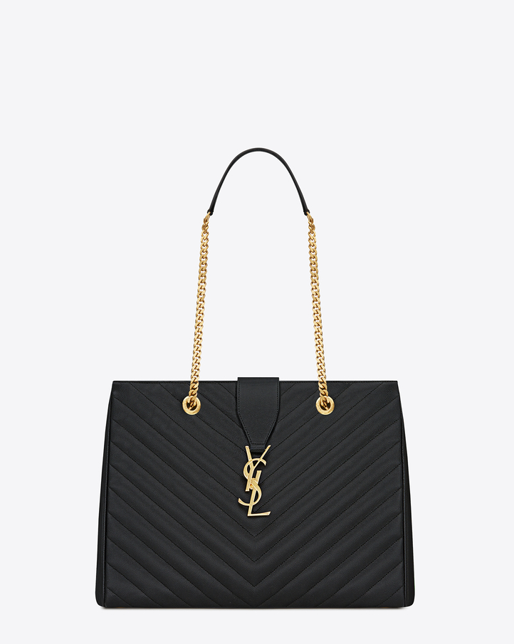 YSL Saint Laurent Monogram Shopping Bag Burgundy