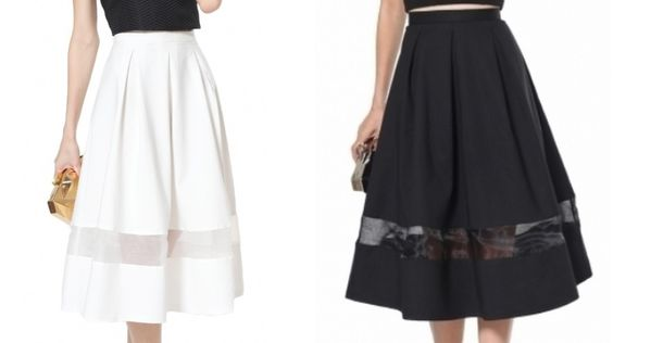 White Scuba Sheer Insert Volume Midi Skirt - from Lavish Alice UK