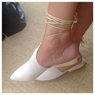 celebrity style chanel shoes sandals gold white shoes
