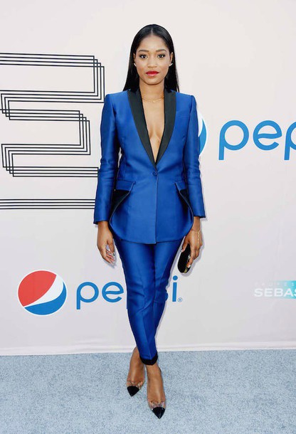 Pants: suit, blueandblack, blue pants, blue blazer, silk blazer ...