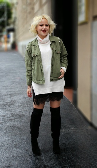 blogger khaki jacket broke hell lace skirt turtleneck