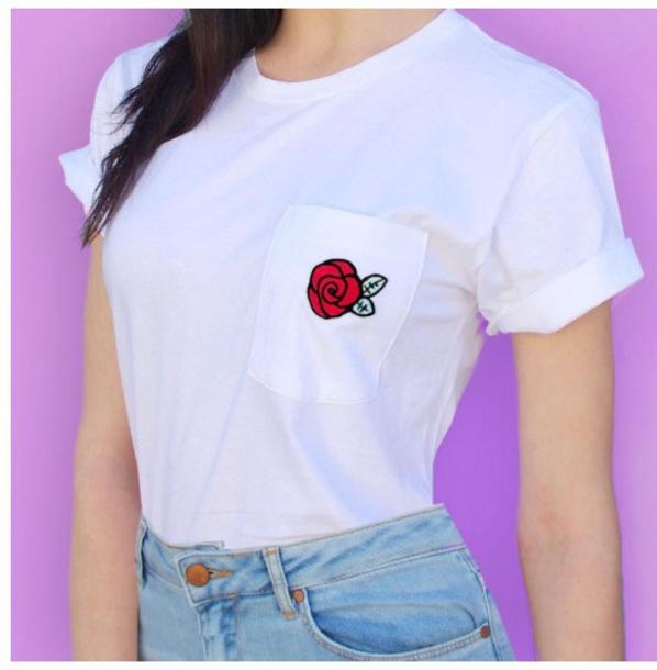 blouse girly white white top white t-shirt white shirt t-shirt pocket t-shirt