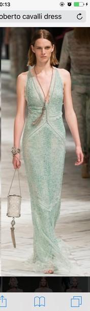dress roberto cavalli mint dress maxi dress