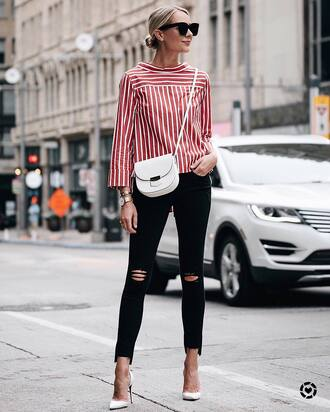 shirt stripes striped shirt red top denim jeans black jeans skinny jeans pumps pointed toe pumps bag white bag sunglasses office outfits