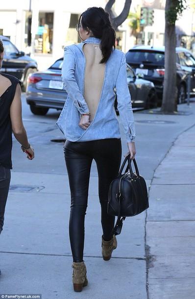 blouse shirt grey jeans demin open back open back shirt