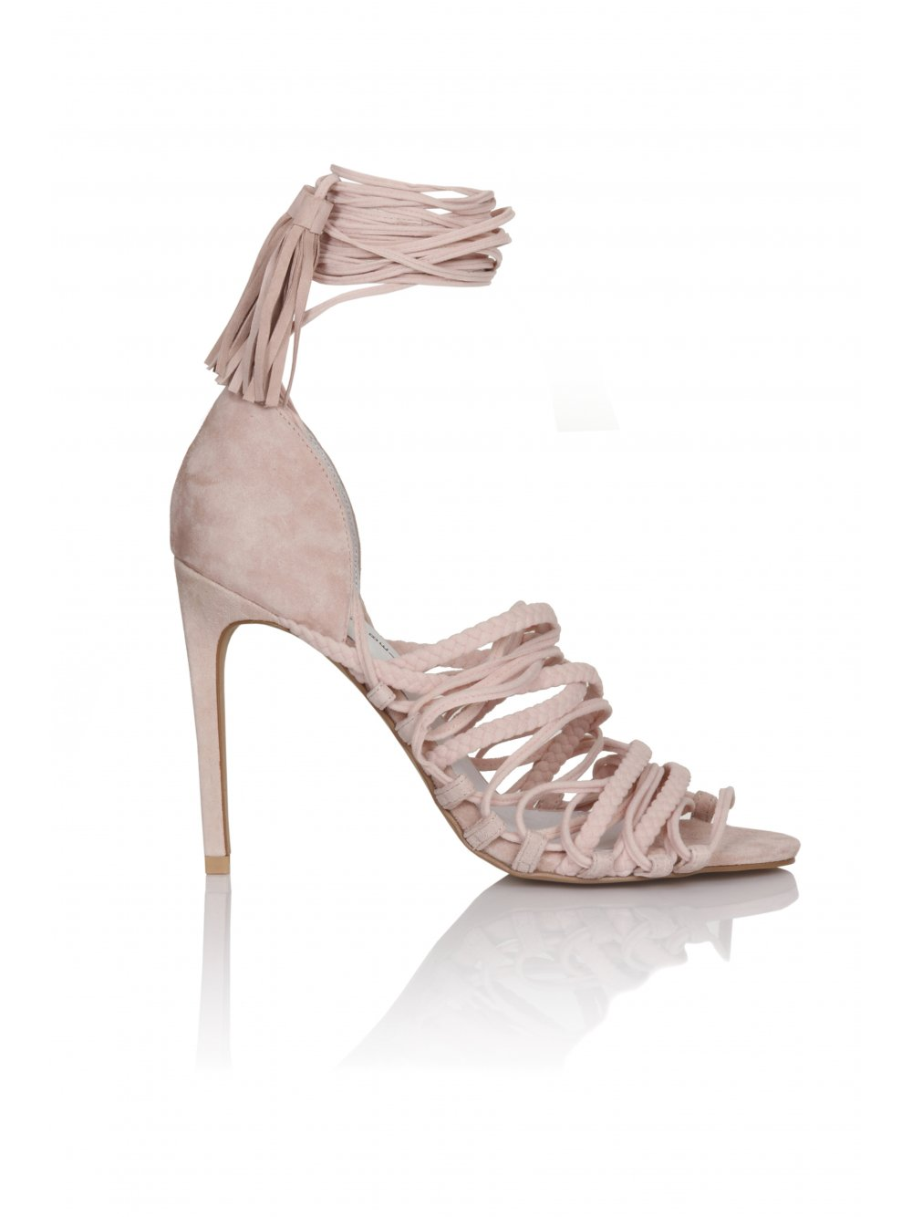 JEFFREY CAMPBELL Sabra Pink Suede Lace Up Sandals - JEFFREY CAMPBELL from Lavish Alice UK