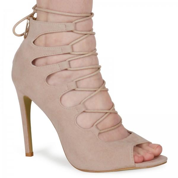 Laila Beige Faux Suede Lace Up Heel Sandals