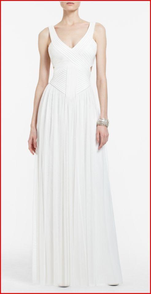 BCBG Mara White Tulle Cutout V Neck Gown 10 $348 Rackg 34 | eBay