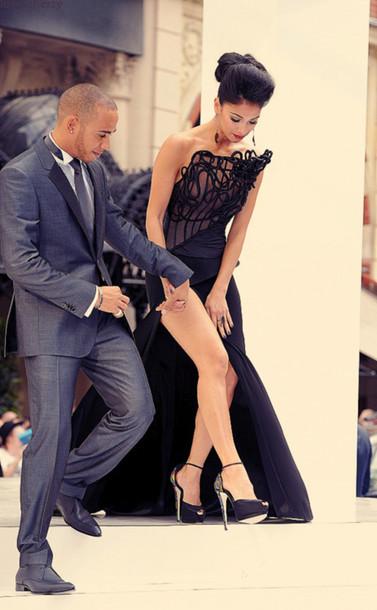 Dress Open Slit Long Black Dress Elegant Shoes Style Heels