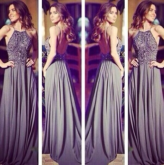 dress ski grey dress long dress prom dress beaded