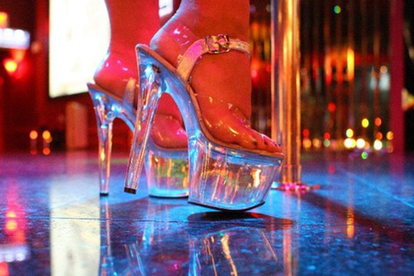 clear see through stripper pole dancing platform high heels super high high heels
