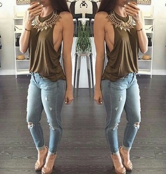 blouse olive green tank top