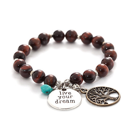 Tigers eye bracelet with tree of life and live your dream charms