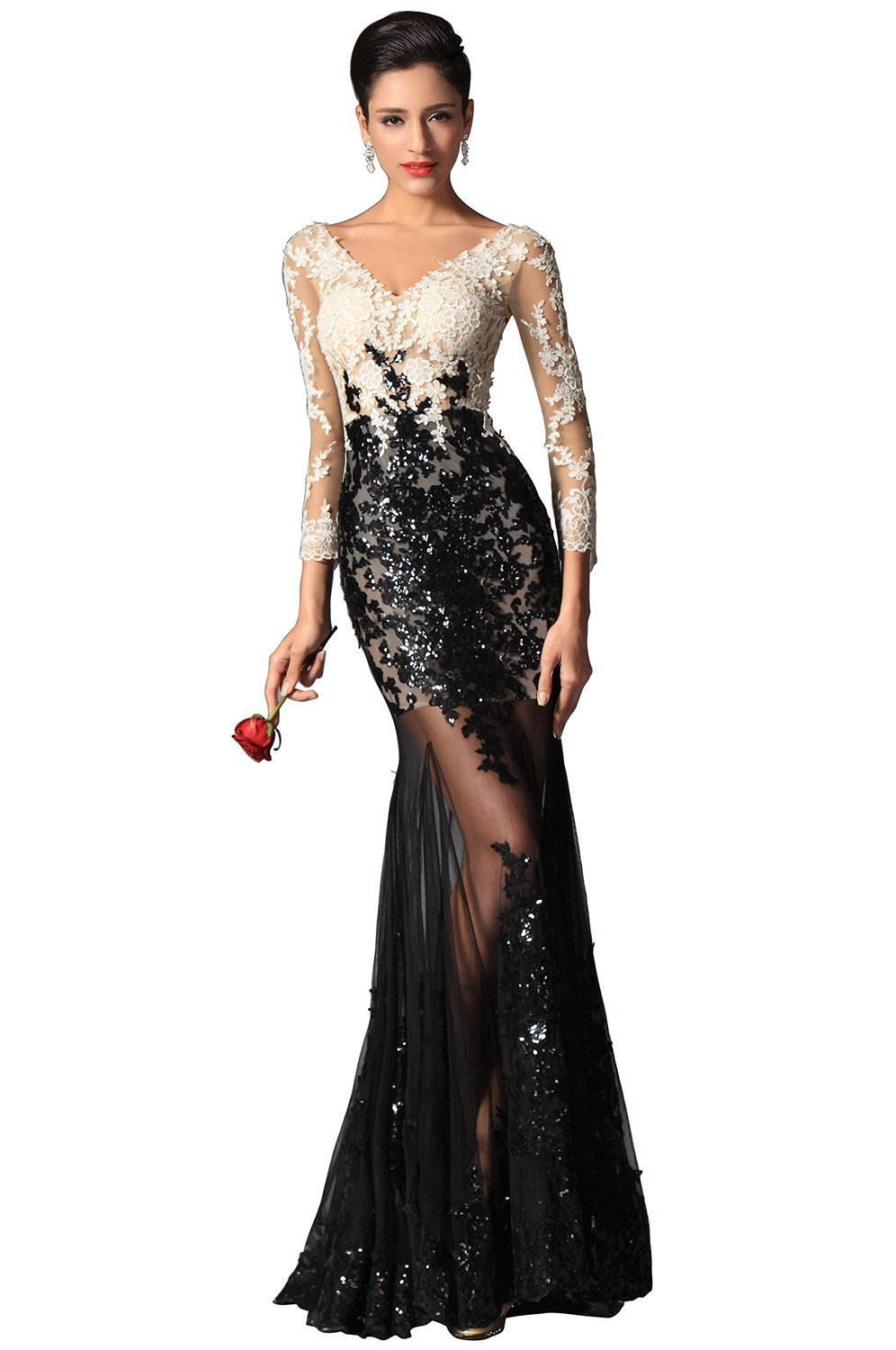 KissBridal Women's Sexy V-neck Sequin Lace Sleeves Evening ...