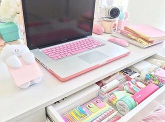 home accessory technology girly computer case desk pastel kawaii pastel pink macbook air