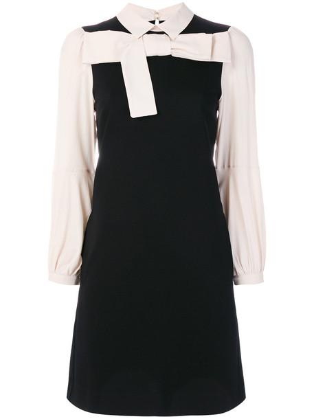 Twin-Set dress shirt dress bow women spandex black silk