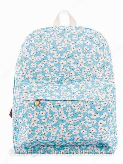 Sky Blue Flowers Print Zipper Backpack - HandpickLook.com