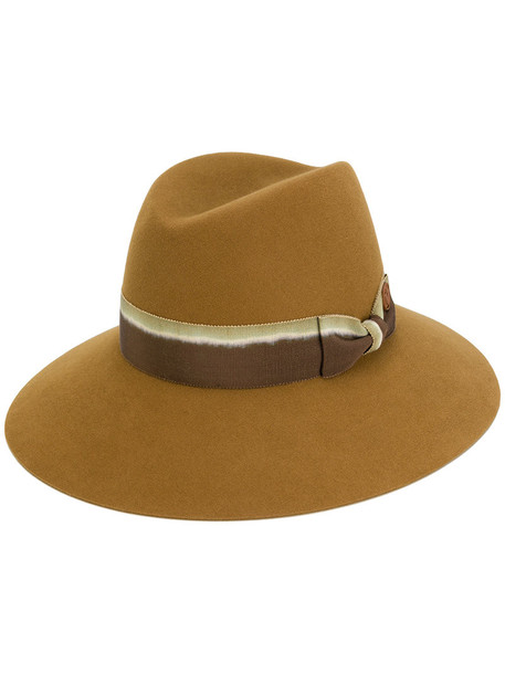 Maison Michel women hat fedora wool brown