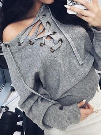 sweater laced up sweater knit grey grey sweater lace up gray sweater