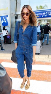jumpsuit,denim,jeans,jourdan dunn,flats