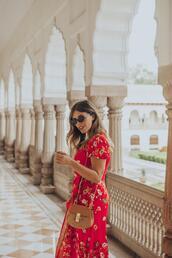 wish wish wish,blogger,dress,shoes,sunglasses,bag,shoulder bag,red dress,floral dress,spring outfits,summer dress,summer outfits