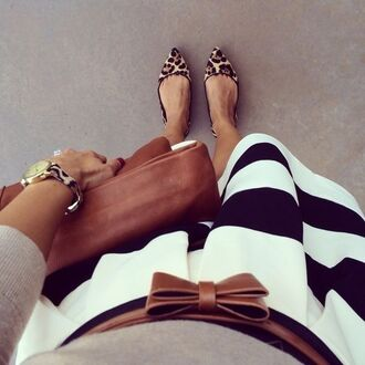 shoes leopard print striped skirt stripes animal print pointed flats watch tan bag tan leather bag tan belt black and white stripes black and white bag skirt jewels