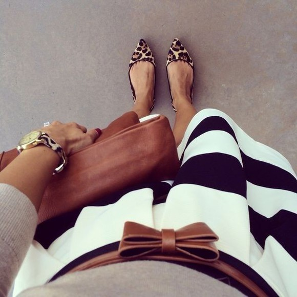 skirt striped skirt black and white jewels shoes stripes leopard print animal print pointed flats watch watches tan bag tan leather bag tan belt black and white stripes bag