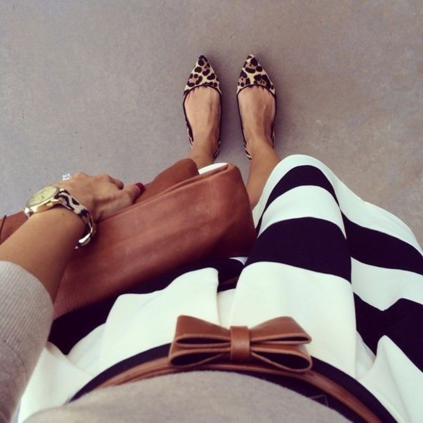 shoes leopard print striped skirt stripes animal print pointed flats watch watch tan bag tan leather bag tan belt black and white stripes black and white bag skirt jewels