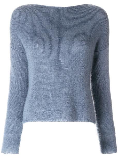 Forte Forte jumper cropped jumper cropped women mohair blue silk sweater