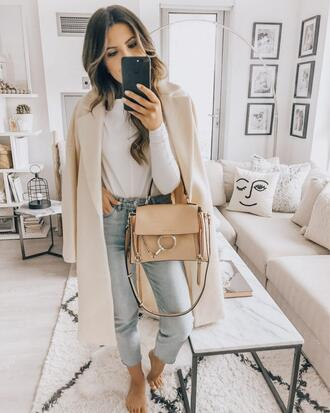 stephanie sterjovski - life + style blogger jacket bag top shoes dress sweater tank top chloe bag nude coat spring outfits