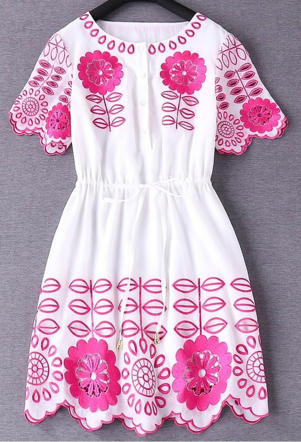 dress summer pink fashion girly style trendy white spring short dress dezzal