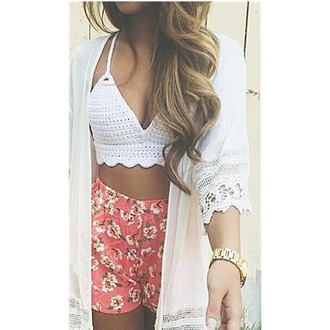 shirt lace up shorts flowered shorts pink coral white