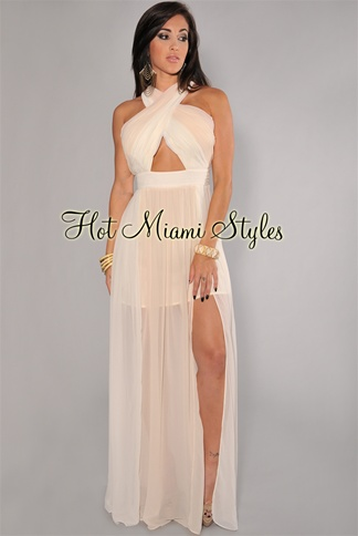 Cream Ombre Ruched Peep-Hole Maxi Dress