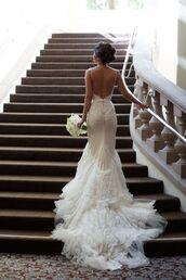 low back bridal dress,bridal dress,low back,spaghetti strap,wedding dress,dress,mermaid wedding dress,white dress,prom dress,lace wedding dress,tumblr dress,bridal,white,lace,low back wedding dress,white lace wedding dress,lace dress,wedding dresses for the beach