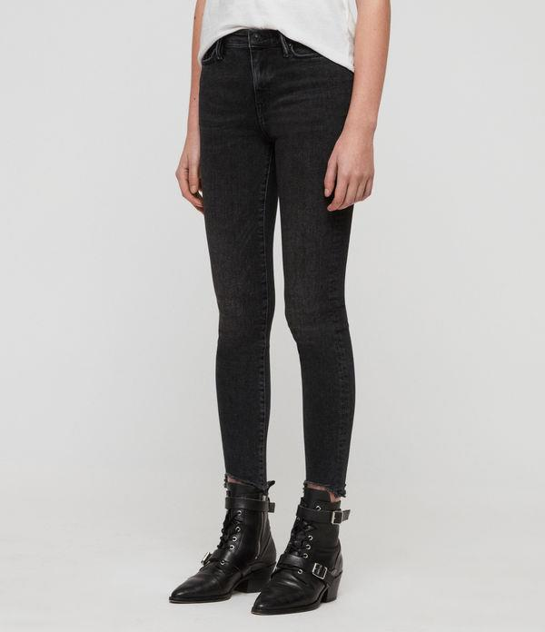 Grace Ankle Fray Skinny Mid-Rise Jeans, Washed Black