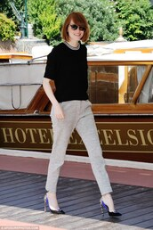 emma stone,pants,shoes,high heels,top