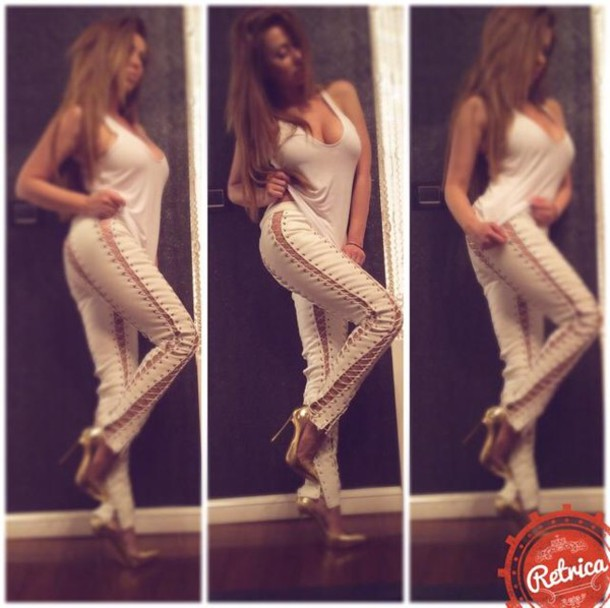 pants leather white leather white leather pants lace up lace up pants outfit outfit idea fashionista sexy sexy pants shoes gold pumps sexy heels