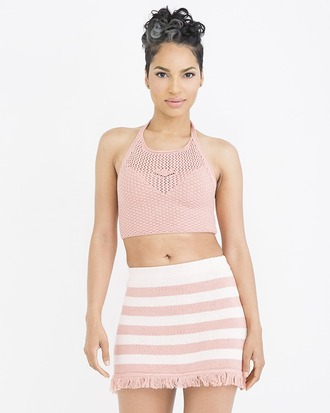 skirt pink pink skirt stripes striped skirt knit skirt