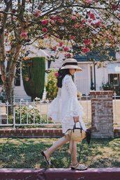dress,hat,tumblr,lace dress,white lace dress,mini dress,sandals,flat sandals,sun hat,bag,woven bag