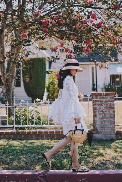 dress hat tumblr lace dress white lace dress mini dress sandals flat sandals sun hat bag woven bag