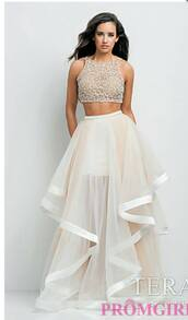 dress,cream prom dress,2 piece prom dress,prom girl,tan prom dress,two piece crystal embellished beaded white nude high low dress,ivory dress,two piece dress set,prom dress,tulle skirt,formal,sherri hill two piece white dress.,evening dress,white,2piece dress,crop tops,wedding dress,long prom dress,gown,skirt,white dress,two-piece,beading prom dress,2 piece  prom dress that's beige and white with flows kirt