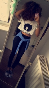 top,african american,afrogirl,printed top,white t-shirt,black t-shirt,swagg t shirt,leggings