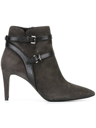 women boots leather cotton grey shoes