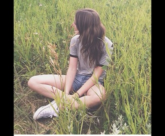 top grey top fashion brandy melville lovely love it t-shirt white converse